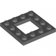 64799-85 Platte plaat 4x4 met gat 2x2 grijs, donker (blauwachtig) NIEUW *1L0000