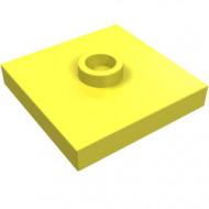 87580-103 Platte plaat 2x2 1 centrale nop geel, lichthelder NIEUW *1L348+9