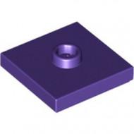 87580-89 Platte plaat 2x2 1 centrale nop paars, donker NIEUW *1L235