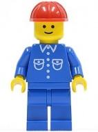 but011G Man, blauw overhemd met zakken en knopen, rode constructiehelm, blauwe benen gebruikt loc