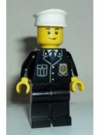 cty0005a Politie- blauwe das, gouden badge, witte pet, lach, zwarte wenkbrauwen NIEUW *0M0000
