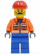 cty0016G Bouwvakker- oranje jas met rits, blauwe broek, rode constructiehelm, snor en baard gebruikt loc