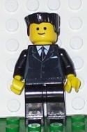 cty0038G Man, zwart plat haar, standaard hoofd, zwart pak met das gebruikt loc