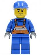 cty0042G Bouwvakker, Blauwe pet, oranje overall op blauw vest, blauwe broek gebruikt loc