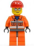 cty0125G Bouwvakker oranje overall zonnebril rode constructiehelm gebruikt loc
