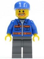 cty0141G Blauwe pet, ringbaardje, blauwe jas met oranje strepen, donkergrijze benen gebruikt loc