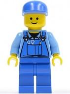 cty0213G Bouwvakker, blauwe pet, standaard hoofd, blauwe overall met gereedschap gebruikt loc