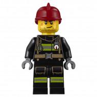 cty343 Brandweerman reflectiestrepen donkerrode helm gezicht met wond NIEUW *0M0000