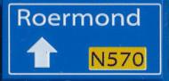 CUS1098 Routebord Roermond N570 (2x4) blauw NIEUW *0A000
