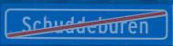 CUS2035 Tegel 1x8 Plaatsnaam einde Schuddeburen (Legoboer-zoekt-vrouw) blauw NIEUW *0A000