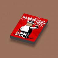 CUS3054 Tegel 2x3 Ame72 I'm Banksy! rood lime NIEUW *0A000
