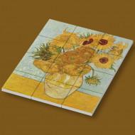 CUS4009 12 tegels 2x2 Zonnebloemen- Vincent van Gogh wit NIEUW *0A000