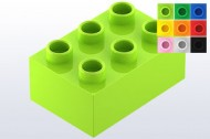 HU87084-34 COMPATIBEL met DUPLO steen 2x3  (Hubelino) Lime NIEUW loc