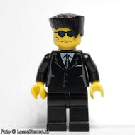 trn116G Zwart pak met pochette, plat zwart haar, zwarte zonnebloem gebruikt loc