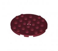 11213-59 Platte plaat 6x6 rond rood, donker NIEUW loc