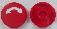 14769pb009-5G Tegel 2x2 rond met nopgat RONDE PIJL (sticker) rood gebruikt *1L0000