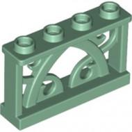 19121-48 Hek 1x4 met ornamenten groen, zandkleurig NIEUW *5D000