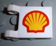 2335pb0011-1G Vlag 2x2 SHELL logo beide kanten (sticker) wit gebruikt *