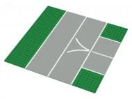 """2360px1-6G Vliegveldplaat 32x32 met splitsing en V""""motief groen gebruikt *3K000"""