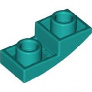24201-39 Omgekeerde dakpan 2x1 rond turquoise, donker NIEUW *1B000