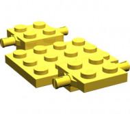 2441-3G Bodemplaat met wielhouders 7x4x2/3 geel gebruikt *3D000