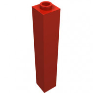 2453-5G Steen 1x1x5 OPEN nop rood gebruikt *5K0000