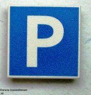 30258pb002-1 Verkeersbord- Parkeerplaats CLIP ON wit gebruikt *