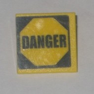 30258pb008-3G Verkeersbord- Tekst DANGER CLIP ON geel gebruikt *