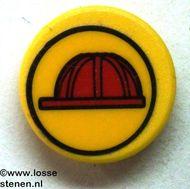 30261pb009-3G Bord rond Verplicht helmdragen CLIP ON geel gebruikt *