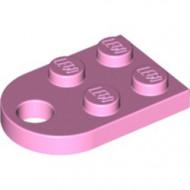 3176-104 Platte plaat 2x2 met gat voor trekhaak (oog) roze, helder NIEUW *1B234