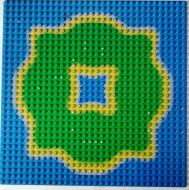 3811pb02-7G Basisplaat 32x32 Eiland symetrisch blauw gebruikt *3K000