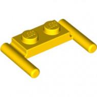 3839b-3 Platte plaat 1x2- 2 hendels lagere setting geel NIEUW *1L296/11