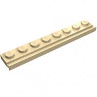 4510-2 Platte plaat 1x8 met deurrail/dakgoot crème NIEUW *1L291/6