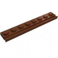 4510-88 Platte plaat 1x8 met deurrail/dakgoot bruin, roodachtig NIEUW *1L317/6