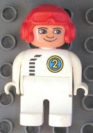 4555pb069 Duplo Figure, Male, White Legs, White Top with Black Zipper and Racer #2, Red Aviator Helmet loc