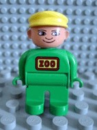 4555pb079 Duplo Figure, Male, Green Legs, Green Top, Yellow Cap (Zoo Keeper) *