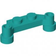 4590-39 Platte plaat 1x4 offset (plaat 2 x1+gaten links en rechts) turquoise, donker NIEUW *1L319