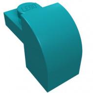6091-153 Steen 2x1 met afgeronde kop en nop blauw, donkerazuur NIEUW *1L0000