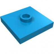 87580-153 Platte plaat 2x2 1 centrale nop blauw, donkerazuur NIEUW *1L235