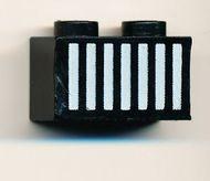 3004p12-11G Steen 1x2 opdruk witte grille Zwart gebruikt loc