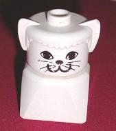 dupfig020 Duplo 2 x 2 x 2 Figure Brick Early, Cat on White Base, White Head loc