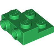 99206-6 Platte plaat 2x2x2/3 met 2 noppen zijkant groen NIEUW *1L0325