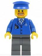 air038G Airport - Blauw pak, bruine baard en snor rond mond, blauwe pet gebruikt loc
