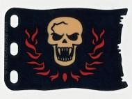 bb511pb01-11G Vlag 8x5 Rode rand met schedel (canvas) geel gebruikt *5K000