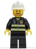 cty0022G Brandweerman- Witte brandweerhelm, standaard hoofd met pupillen, zwart pak met reflectiestrepen, zwarte broek, donkerblauwgrijze handen gebruikt loc