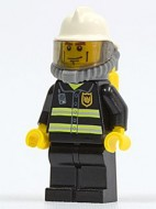 cty0030G Brandweerman- Zwarte benen, witte brandweerhelm, zuurstoftank gebruikt loc