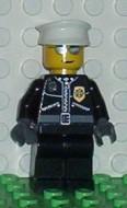 cty0039G Politie, witte pet, jas met ritsluiting, zilveren zonnebril gebruikt *0M0000