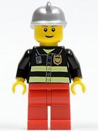 cty0115G Brandweer witte helm glimlach zwart pak met reflectiestrepen gebruikt loc