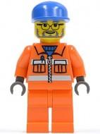 cty0158G Vuilnisman 3- oranje vest, bril en baard, blauwe pet lange klep gebruikt loc