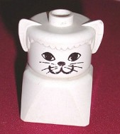 dupfig020 Duplo 2 x 2 x 2 Figure Brick Early, Cat on White Base, White Head *